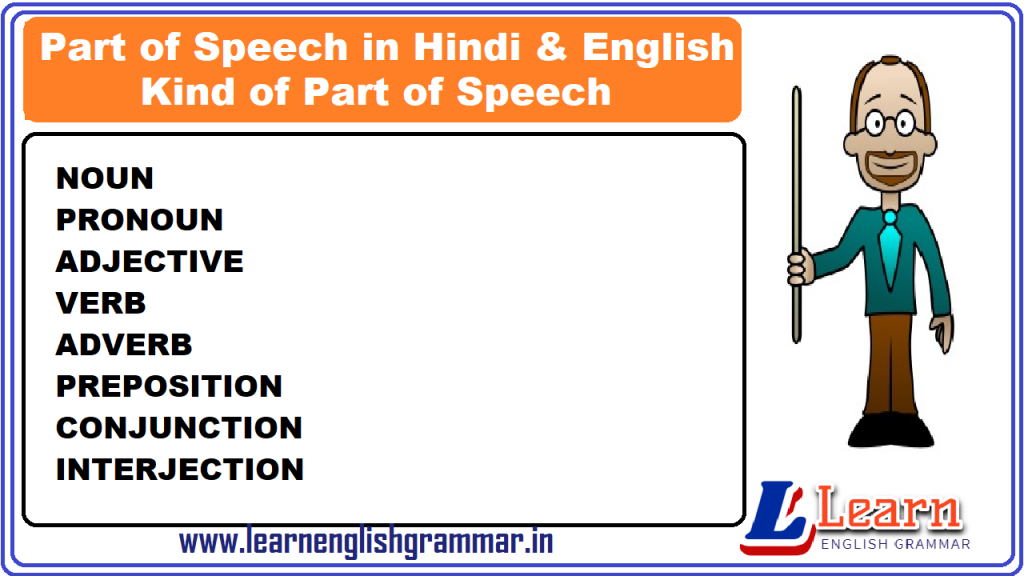 Part of Speech in Hindi & English with Definitions & Kind of Part of Speech