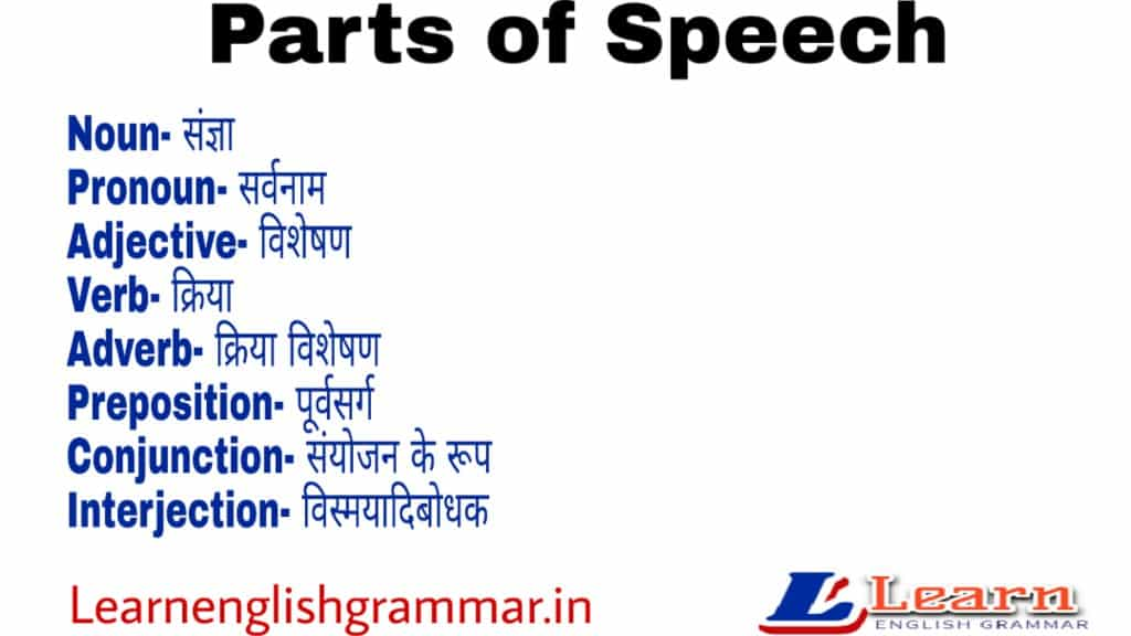 Parts of Speech in hindi And english