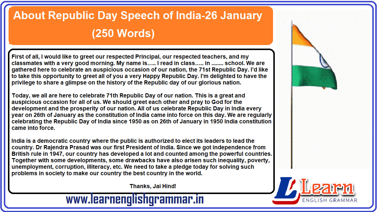 About Republic Day Speech