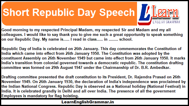 Short Republic Day Speech for child 130 words