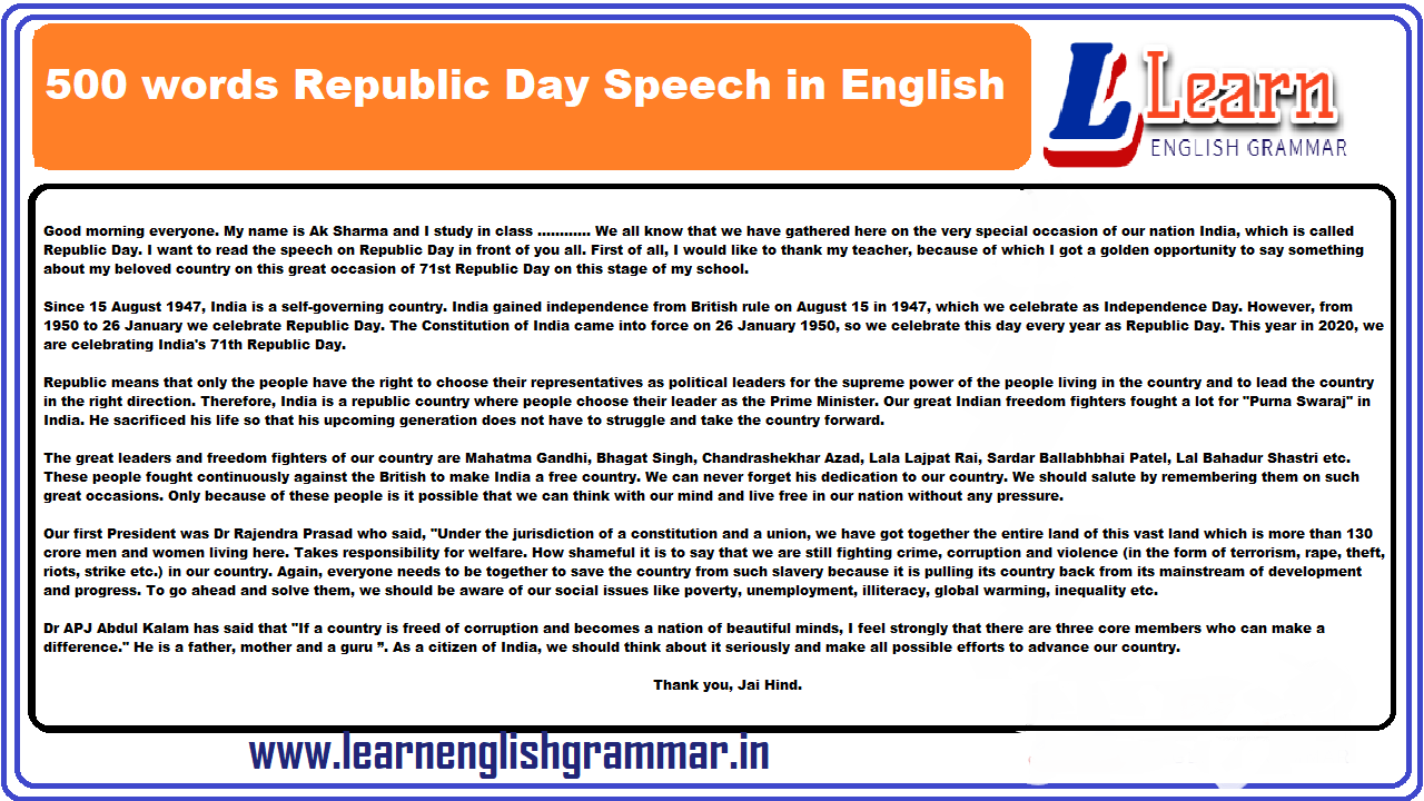 500 words Republic Day Speech in English