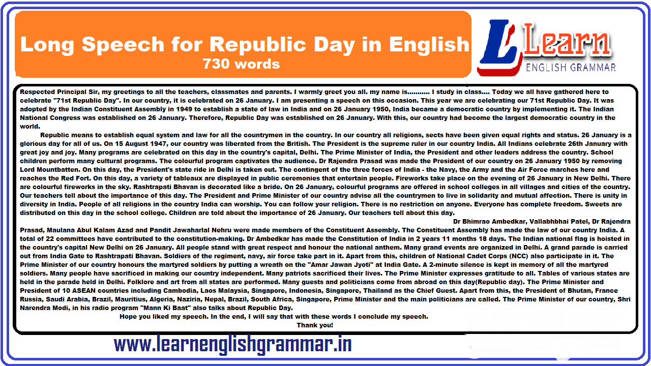 Long Speech for Republic Day in English