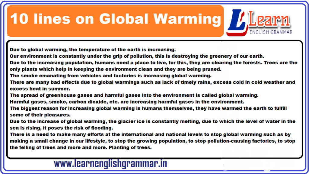 10 lines on Global Warming