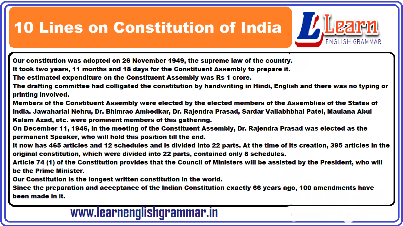 Essay on Constitution of India in English for Class 20 to 202 Students