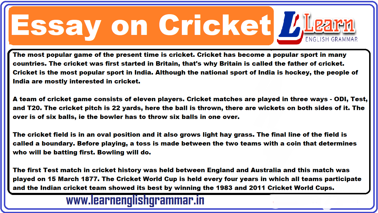 essay on popularity of cricket in india