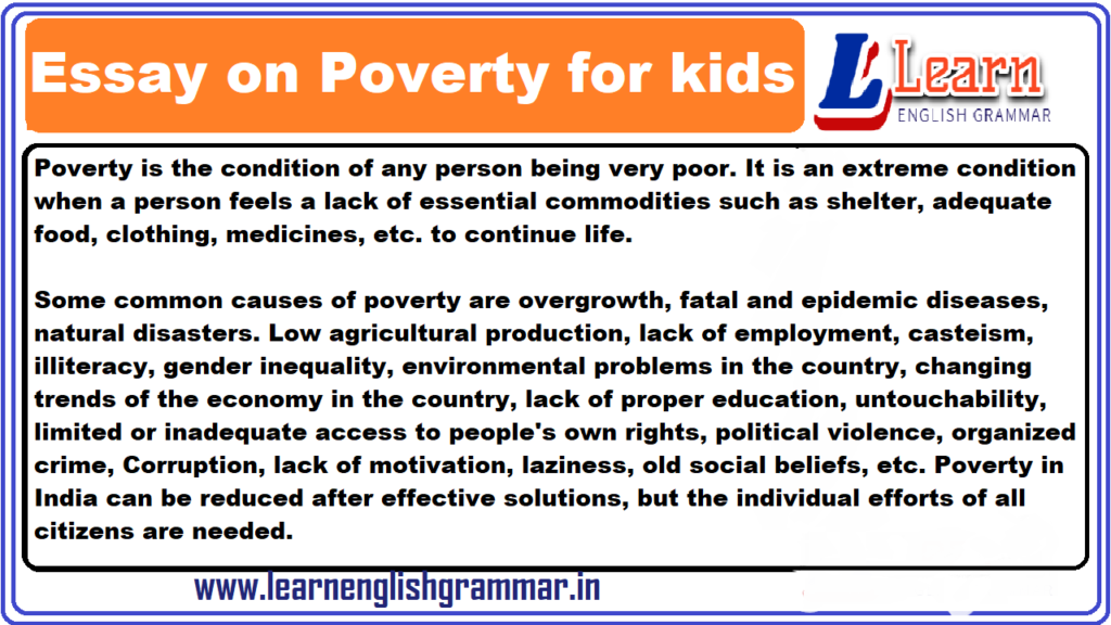 Essay on Poverty for kids