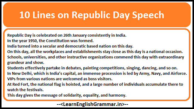 10 Lines on Republic Day Speech