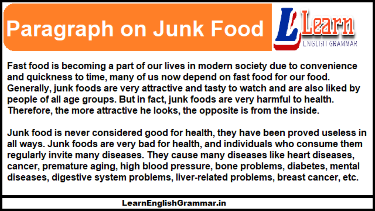 Paragraph on Junk Food in English for Students ...
