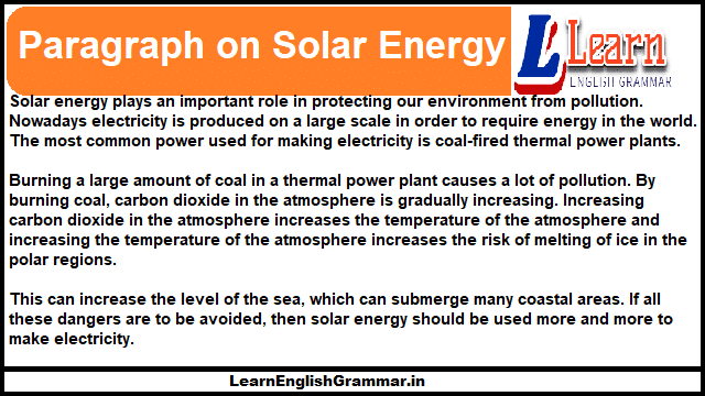 Paragraph on Solar Energy