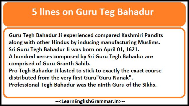 5 lines on Guru Teg Bahadur