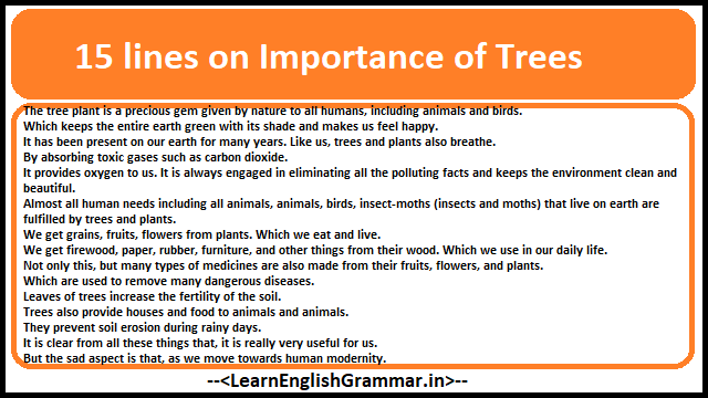 15 lines on Importance of Trees